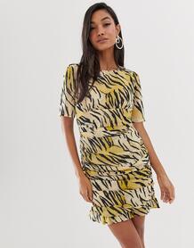 Платье мини с тигровым принтом и сборками по бокам -Мульти ASOS DESIGN 8273063