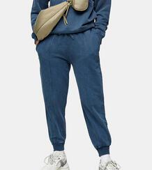 Голубые джоггеры с эффектом кислотной стирки -Голубой Topshop Petite 11875442