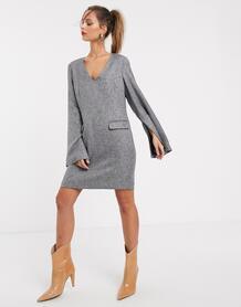 Платье с широкими рукавами и присборенной отделкой -Серый UNIQUE21 9092584