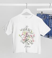 Белая футболка с цветочным принтом -Белый Miss Selfridge Petite 10568758