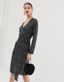 Плиссированное платье с запахом и леопардовым принтом -Черный цвет River Island 8089650