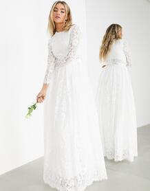 Кружевное свадебное платье с кроп-топом -Белый ASOS Edition 8495513