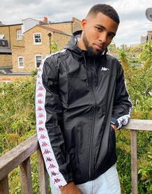 Черная куртка на молнии с фирменной лентой -Черный Kappa 10073666