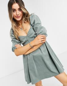 Шалфейно-зеленое вельветовое платье мини -Зеленый цвет ASOS DESIGN 11041273