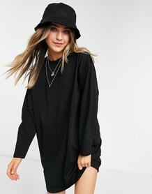 Черное платье-лонгслив в стиле oversize -Черный цвет ASOS DESIGN 11238224