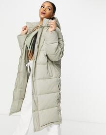 Удлиненная дутая куртка серо-бежевого цвета с капюшоном -Зеленый цвет MISSGUIDED 11279648