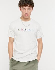 Светло-серая меланжевая футболка сразноцветным логотипом нагруди -Серый Original Penguin 11530584