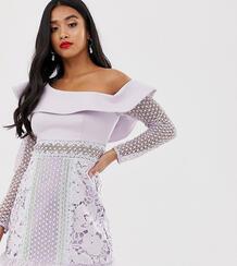 Сиреневое платье мини на одно плечо с пышным рукавом и контрастными кружевными вставками -Фиолетовый цвет True Decadence Petite 8173080