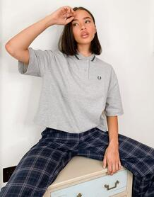Серая рубашка в стиле oversized из пике -Серый Fred Perry 9672150
