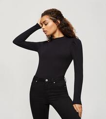Черное боди с объемными рукавами -Черный Miss Selfridge Petite 11117402