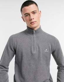 Темно-серый меланжевый джемпер из хлопкового пике с логотипом и короткой молнией Gant 11394455