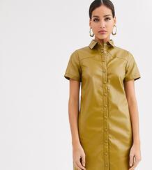 Платье-рубашка из искусственной кожи -Зеленый Glamorous Tall 9085919