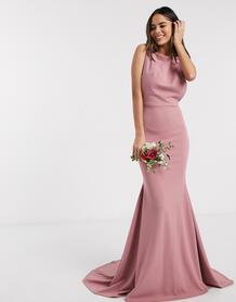 Розовое платье с глубоким вырезом на спине Bridesmaid-Розовый цвет MISSGUIDED 9759093