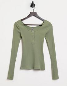 Топ в рубчик на пуговицах в цвете хаки -Зеленый Pieces 10951667