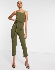 Комбинезон с завязкой спереди цвета хаки -Зеленый Girl In Mind 11017141