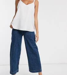 Синие выбеленные широкие джинсы с завышенной талией и посадкой под животом ASOS DESIGN Maternity-Голубой Asos Maternity 9106525