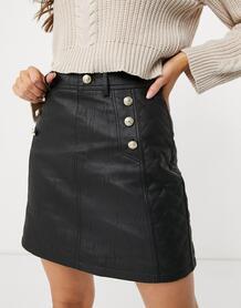 Черная стеганая мини-юбка из искусственной кожи с ремнем -Черный цвет River Island 11194348