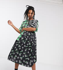 Свободное платье миди с комбинированным принтом -Мульти Collusion 8884152