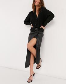 Черная юбка миди из искусственной кожи с запахом и перекрученной драпировкой RiverIsland-Черный River Island 11048429