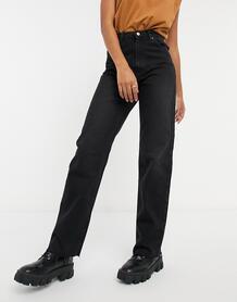 Черные выбеленные прямые джинсы из органического хлопка с завышенной талией -Черный цвет NA-KD 11148613