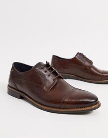 Коричневые кожаные туфли на шнуровке -Коричневый Base London 10179605