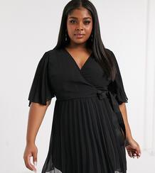 Эксклюзивное платье мини с широкими рукавами и поясом ASOS DESIGN Curve-Черный цвет Asos Curve 9656960