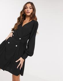 Черное короткое приталенное платье с плиссировкой -Черный MISSGUIDED 10669670