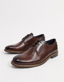 Коричневые кожаные туфли на шнуровке -Коричневый Base London 10179629