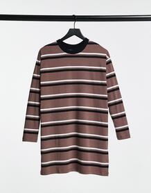 Oversized-платье с длинными рукавами в серо-коричневую, черную и белую полоску -Черный ASOS DESIGN 10895897