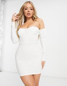 Белое платье мини с корсетной отделкой, открытыми плечами и объемными рукавами -Белый Femme Luxe 11002960