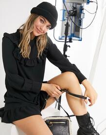 Черное платье мини с присборенной юбкой, высоким воротом и оборками на груди -Черный цвет New Look 10994453