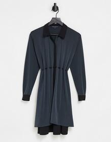 Черное платье-рубашка из комбинированного материала -Черный цвет French Connection 11072341