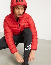 Красный пуховик с капюшоном для активного отдыха adidas Outdoors-Черный цвет 9706927