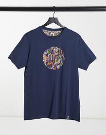 Темно-синяя футболка с принтом-логотипом пейсли -Темно-синий Pretty Green 10636169
