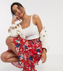 Юбка с цветочным принтом и баской -Красный Vero Moda 9572241