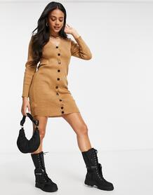 Бежевое трикотажное платье мини на пуговицах -Коричневый Femme Luxe 10641577