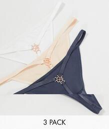 Набор из трех пар стрингов (серые, бежевые и белые) -Многоцветный Dorina 10435861