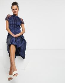 Темно-синее платье миди в горошек с кружевными вставками -Темно-синий Liquorish 10605000