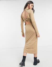 Бежевое платье миди с вырезом на спине Begonia-Neutral Weekday 11000144