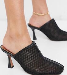 Черные сетчатые мюли для широкой стопы на среднем каблуке Sian-Черный ASOS DESIGN 10834368