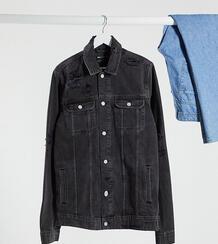 Черная джинсовая куртка со рваной отделкой Tall-Черный цвет ASOS DESIGN 9949573