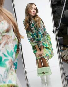 Платье-рубашка мини с принтом тигров -Мульти Liquorish 10884380