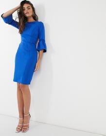 Синее платье миди с рукавами клеш -Синий Paper Dolls 9998961