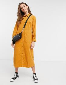 Вельветовое платье-рубашка миди горчичного цвета из органического материала -Желтый People Tree 11299566