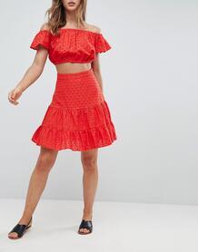 Мини-юбка от комплекта с вышивкой ришелье -Красный ASOS DESIGN 6884730
