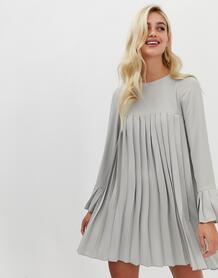 Серое плиссированное платье-трапеция мини с длинными рукавами -Серый ASOS DESIGN 7887802