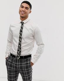 Серовато-белая приталенная атласная рубашка wedding-Белый ASOS DESIGN 8175054