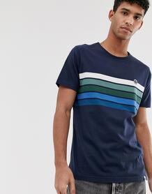 Темно-синяя футболка с полосками на груди -Темно-синий Pretty Green 8511097