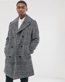 Двубортный пиджак в клетку с добавлением хлопка -Серый ASOS DESIGN 8716656