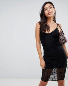 Сетчатое платье в горошек -Черный MISSGUIDED 7386280
